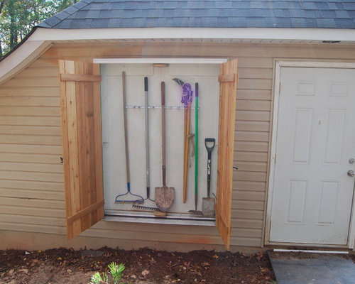 Garden Tool Storage Ideas best 20 garden tool organization ideas on pinterest Example Of A Transitional Shed Design In Charlotte