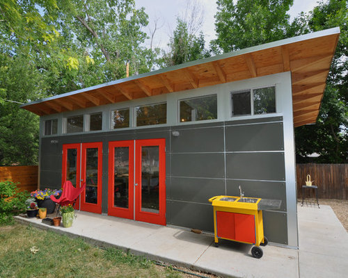 Red and grey houzz for Garage con studio