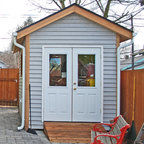 Backyard Screen Porch Eclectic Shed Austin By