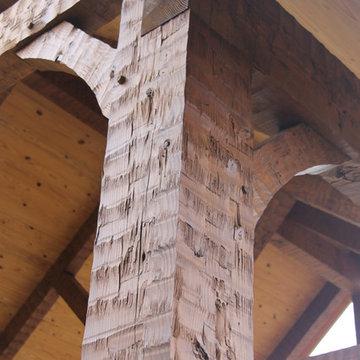 Hand hewn timberframe carport