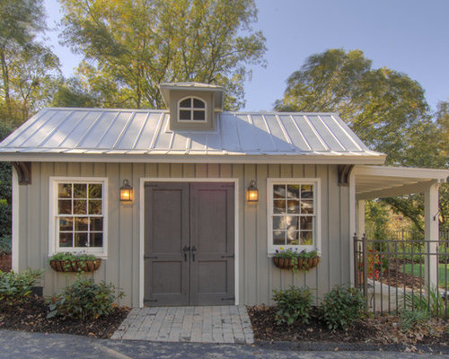 Double door shed home design ideas pictures remodel and for Traditional garden buildings