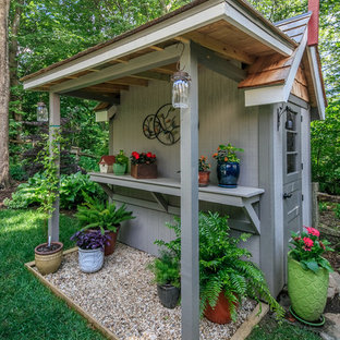 Mid-sized country detached garden shed photo in Charlotte