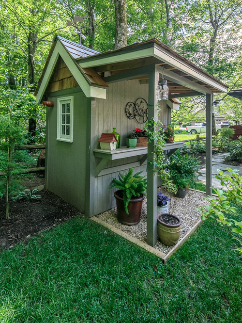Garden Shed   Mid Sized Farmhouse Detached Garden Shed Idea In Charlotte