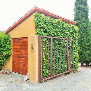 Photo of a mid-sized mediterranean detached garden shed in San Francisco.