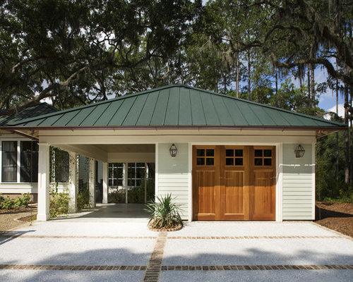 Attached carport houzz for Garage with carport designs