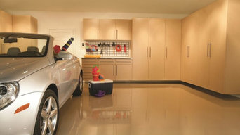 Maple Garage Cabinets-Solid Flooring-Stainless Workbench