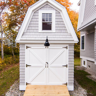 Design ideas for a mid-sized country detached garden shed in Portland Maine.
