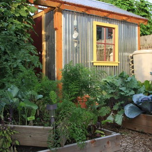 Photo of an urban garden shed and building in Philadelphia.