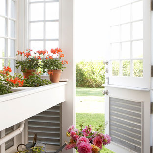 Example of a beach style garden shed design in Boston