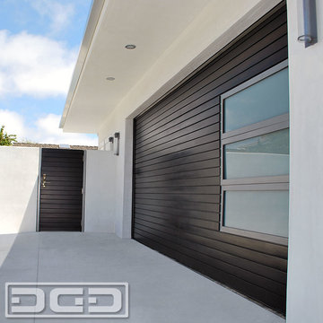 Modern Garage Door, Matching Pedestrian Gates & Steel Architectural Entry Gates