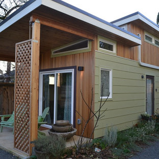 Example of a small trendy detached guesthouse design in Portland