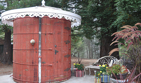 An Outdoor Bathroom That Was Once a Water Tank