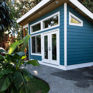 This is an example of a beach style detached shed and granny flat.