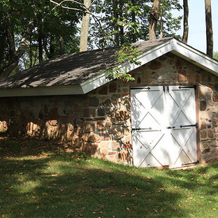 Design ideas for a medium sized country detached garden shed in Philadelphia.