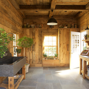 Inspiration for a rustic garden shed remodel in New York