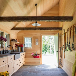 Expansive country garden shed in New York.