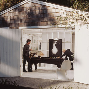 Inspiration for a coastal office/studio/workshop in New York.