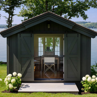 Example of a small mountain style detached studio / workshop shed design in Boston