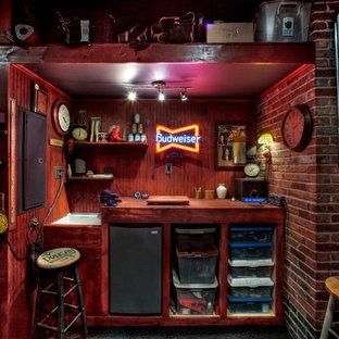 Inredning av ett rustikt kontor, studio eller verkstad