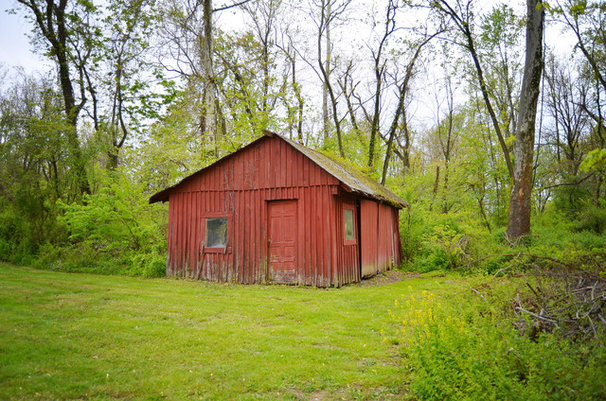 Farmhouse Garage And Shed by Amy Renea