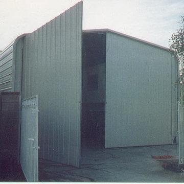 Steel building & garage door.