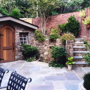 Stone Shed and Garage with Flagstone Patio