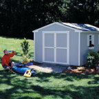 Storage Sheds - The affordable storage solution. This line of storage sheds comes in 8x8, 10x8 and 10x12 for your convenience. Customizable with your choice in color of shingles, foundation options, windows, shelving and various upgrades and decorative accents.