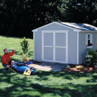 Design ideas for a small modern detached garden shed in Detroit.
