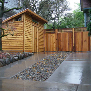 This is an example of a contemporary attached garden shed and building in Portland.