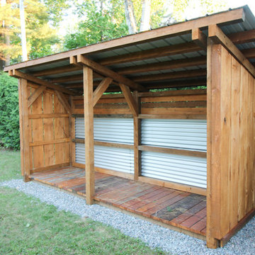 Timber frame lean-to shed