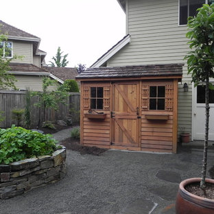 Design ideas for a medium sized eclectic garden shed in Seattle.