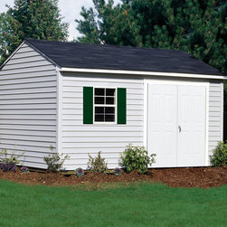 "Vinyl Sided Sheds - The 10x16 Sentry is extremely tough and spacious! This vinyl shed is 10 ft. wide with 6'6"" ft. sidewalls and an 9'4"" ft. high peak. The 16-ft. depth allows you to store off-road vehicles or mowing equipment and garden/lawn tools. Thanks to the vinyl siding, this is one low maintenance shed."