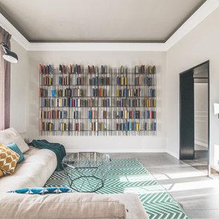 Foto di un soggiorno contemporaneo con pareti grigie e pavimento grigio