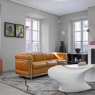 Ispirazione per un soggiorno contemporaneo di medie dimensioni e chiuso con pareti grigie, camino classico e cornice del camino in pietra