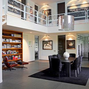 Idee per un grande soggiorno minimalista aperto con sala formale e pareti bianche