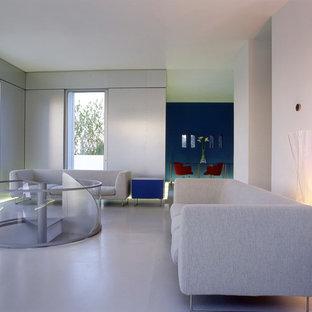Esempio di un grande soggiorno minimal aperto con pareti bianche e pavimento in gres porcellanato