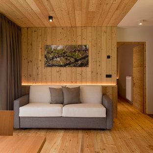 Esempio di un soggiorno rustico di medie dimensioni e aperto con parquet chiaro