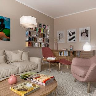 Modelo de biblioteca en casa abierta, contemporánea, de tamaño medio, con paredes rosas, suelo de baldosas de porcelana y pared multimedia