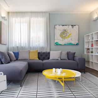 Foto di un soggiorno minimal di medie dimensioni e chiuso con pareti grigie e parquet scuro