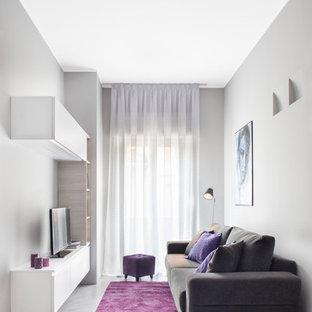 Foto di un piccolo soggiorno minimal con pareti grigie, pavimento in cemento e TV autoportante