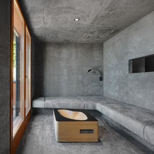 Foto di un soggiorno minimal con pareti grigie e pavimento grigio