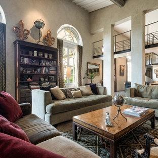 Ispirazione per un soggiorno bohémian aperto con pareti beige