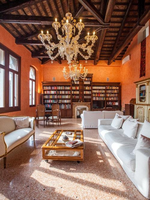 Soggiorno con pareti arancioni - Foto e Idee per Arredare