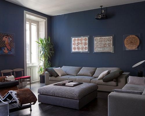 Pareti Soggiorno Grigio : Abbinamento blu e grigio foto e idee houzz