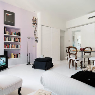 Trendy light wood floor and purple floor living room photo in Milan with white walls