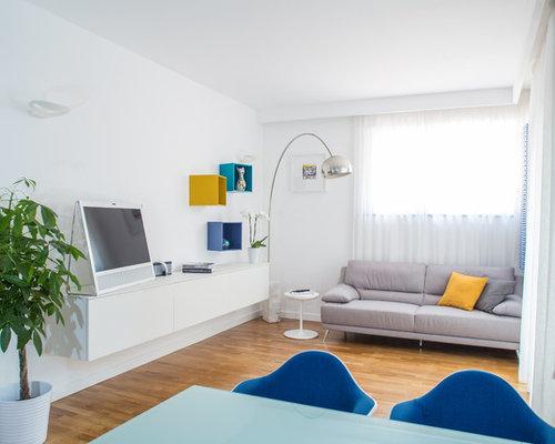 Great cool immagine di un soggiorno minimal con pareti for Open space moderni