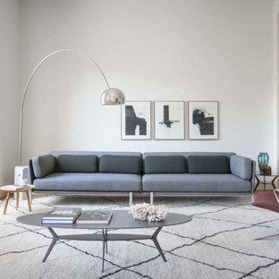Esempio di un grande soggiorno contemporaneo chiuso con pareti bianche, parquet chiaro, pavimento beige e soffitto a volta
