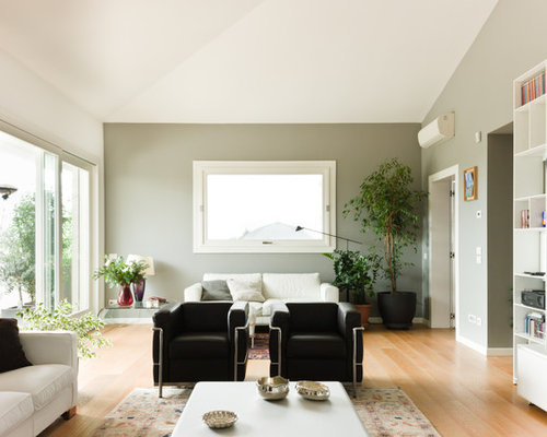 Foto e Idee per Living - living moderno con pareti grigie