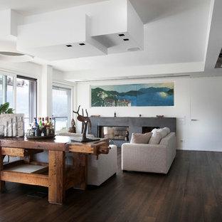 Ispirazione per un grande soggiorno minimal con pareti bianche, parquet scuro, camino lineare Ribbon e cornice del camino in metallo