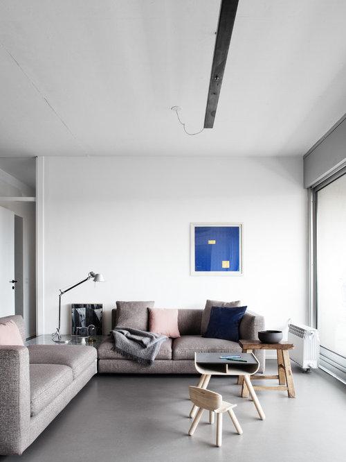 Soggiorno con pavimento in cemento - Foto e Idee per Arredare